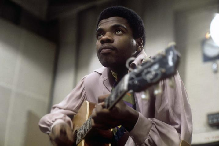 Billy Preston recording in Abbey Road Studios, London, 1969. (Apple Records)