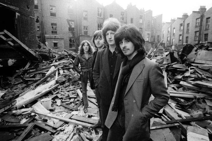 Badfinger (L-R: Mike Gibbins, Joey Molland, Pete Ham, Tom Evans) Ladbroke Grove, London, 1969. (Apple Records)